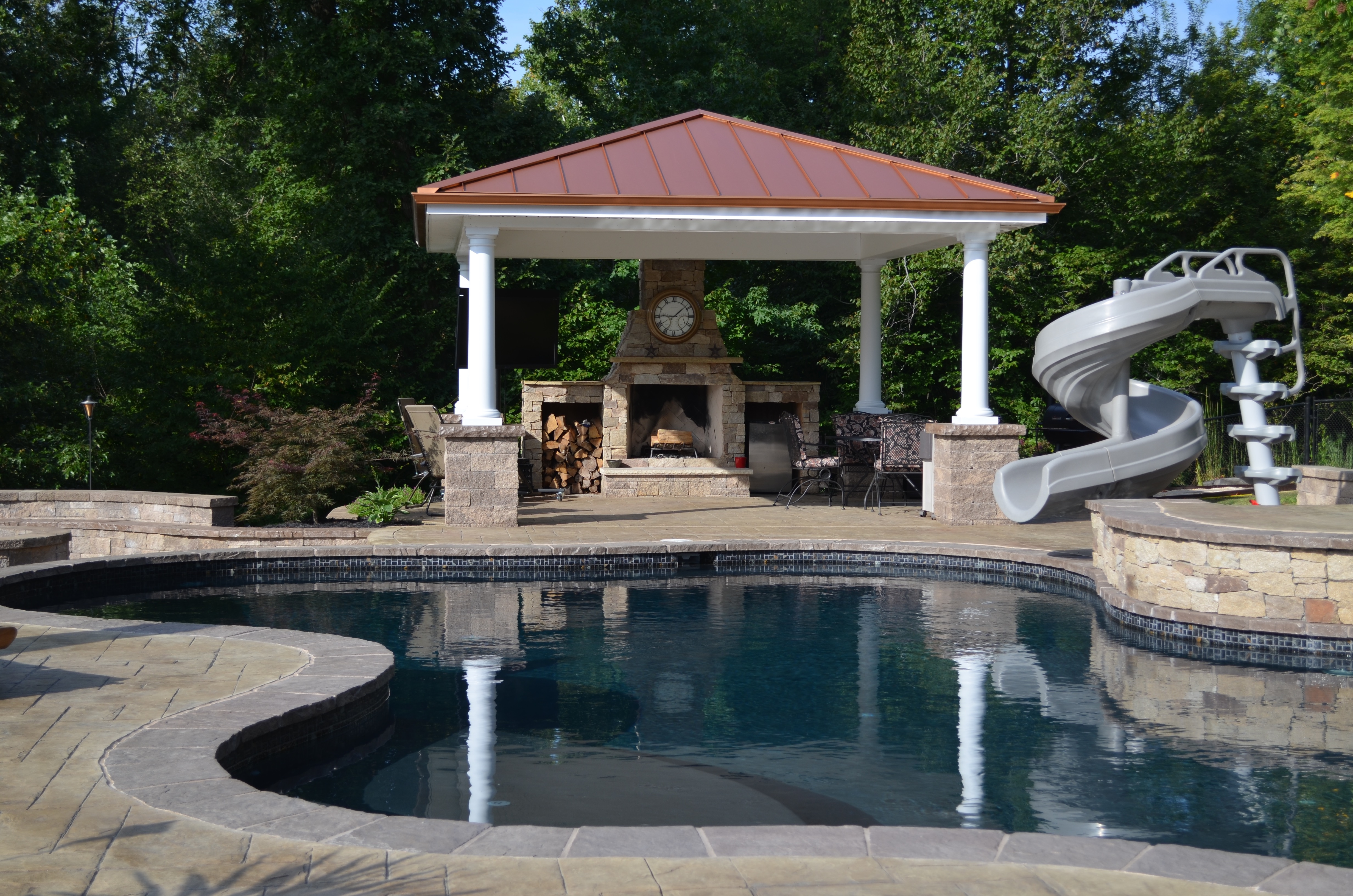 Swimming Pool Pavilion with fire pit